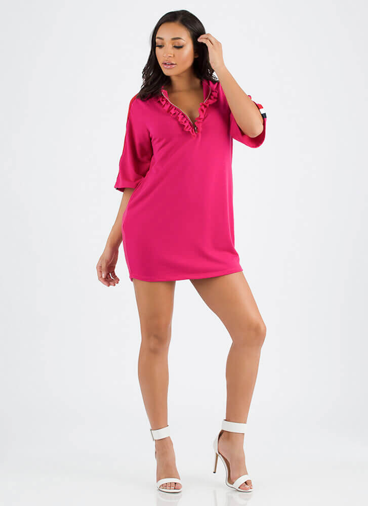 Fun And Frills Ruffled Hoodie Dress FUCHSIA