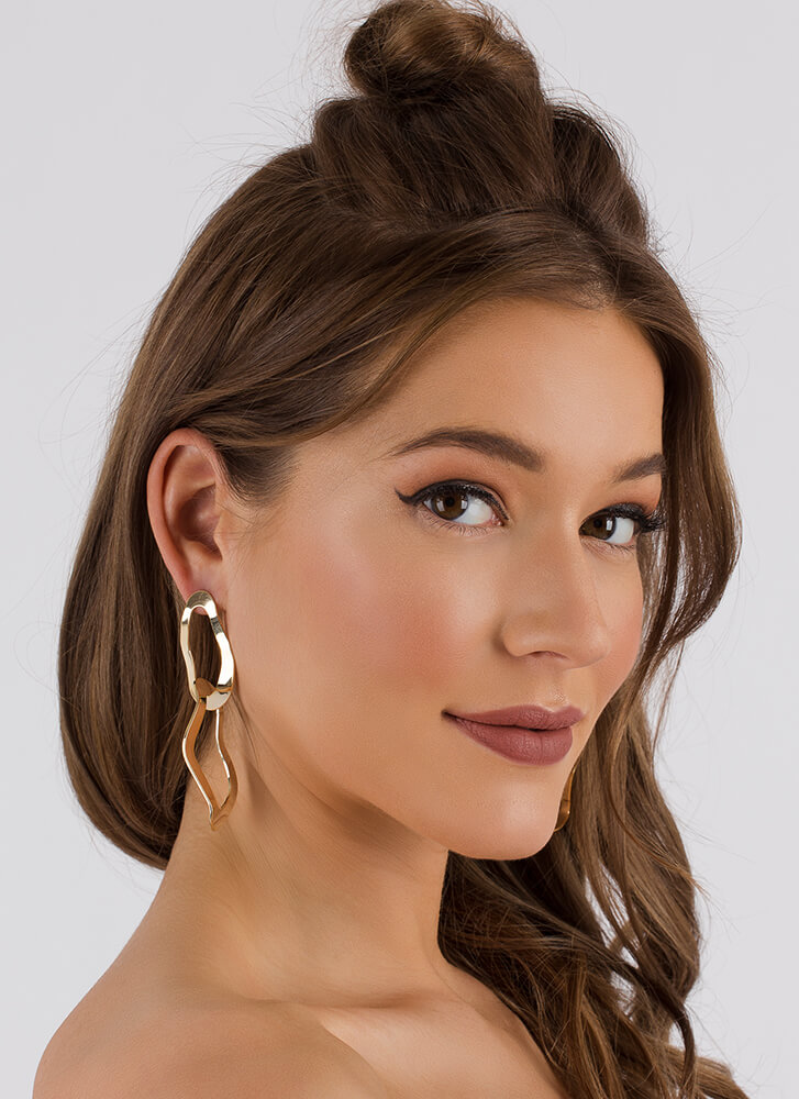 Make The Link Abstract Ring Earrings GOLD (You Saved $9)