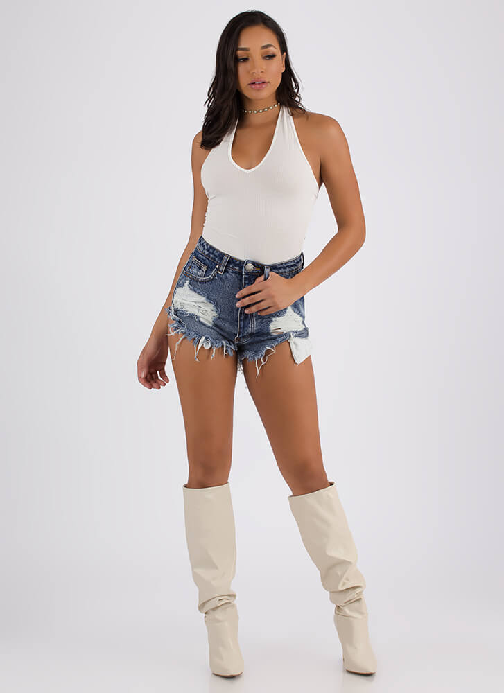 All Kinds Ribbed Halter Bodysuit OFFWHITE