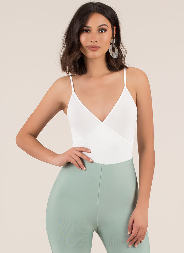 Oh Yes Plunging Faux Wrap Bodysuit OFFWHITE
