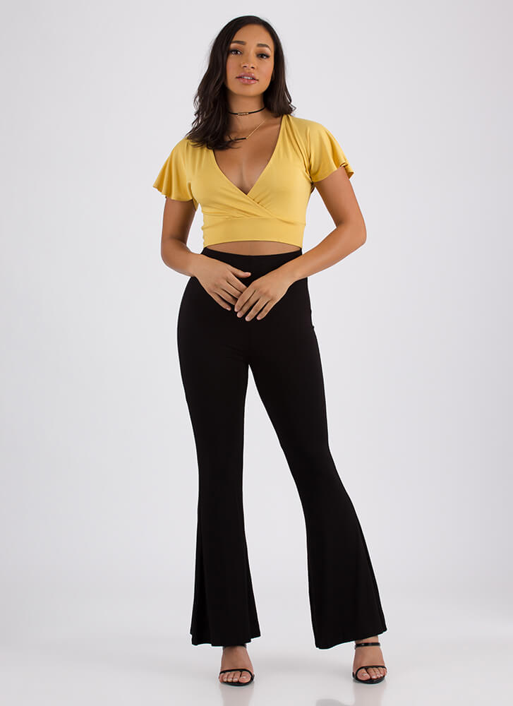 Flutter Away Plunging Tie-Back Crop Top MUSTARD