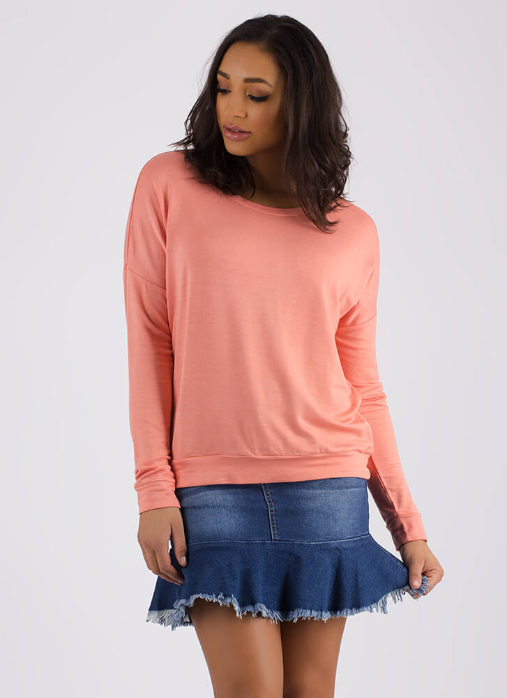 Don't Even Sweat It Long-Sleeved Top PEACH