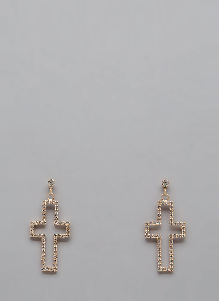 A Plus Rhinestone Cross Earrings GOLD