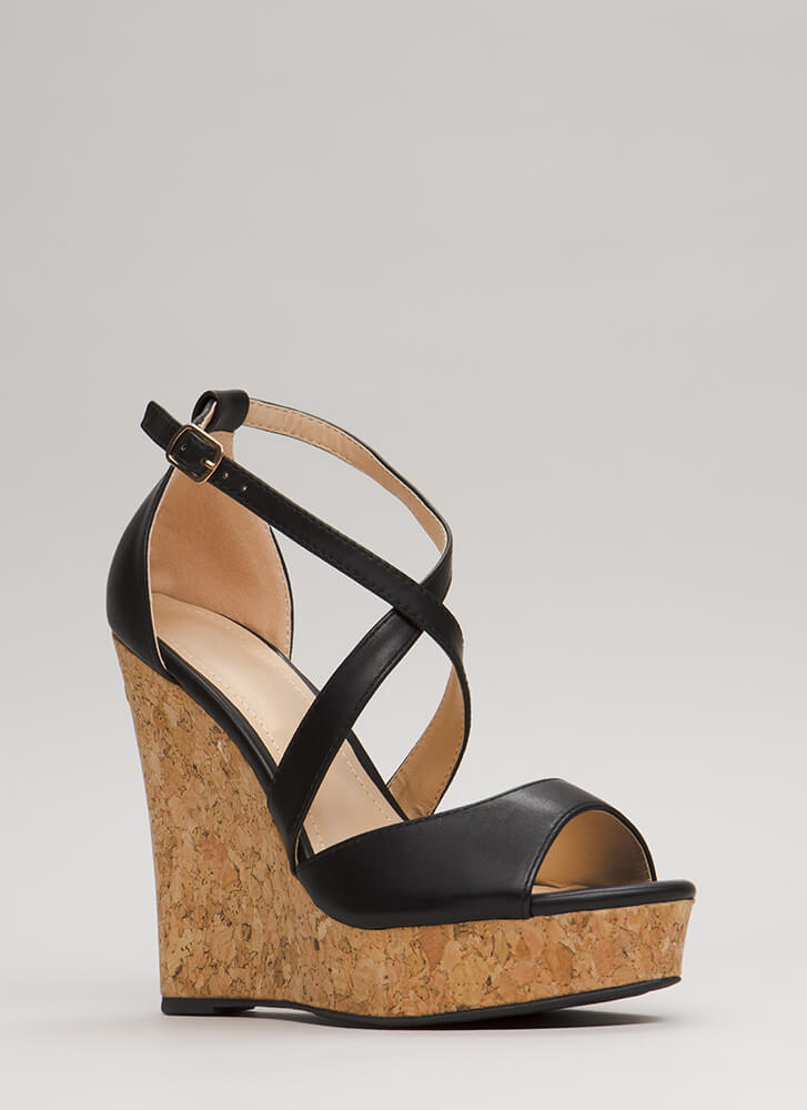 Cork It Strappy Platform Wedges BLACK