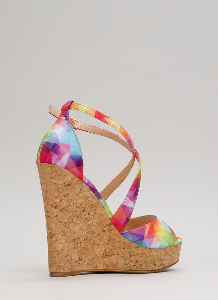 Cork It Strappy Rainbow Wedges MULTI (Final Sale)