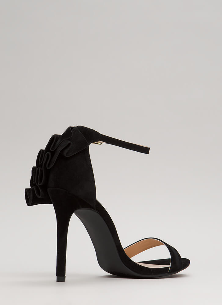 Ruffle Around The Edges Strappy Heels BLACK (Final Sale)