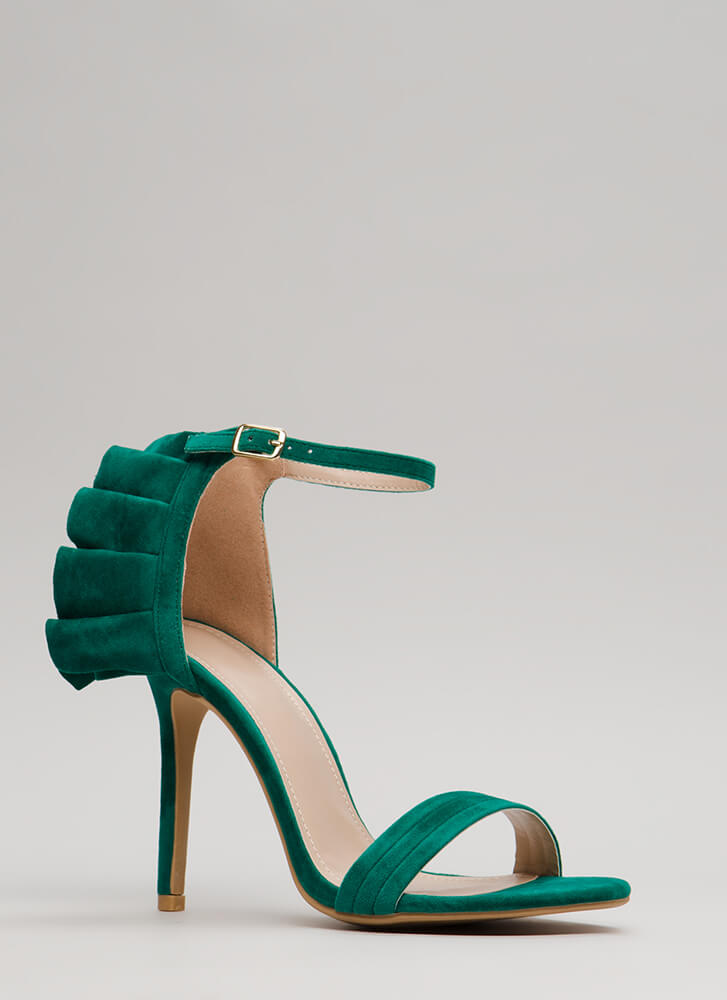 Ruffle Around The Edges Strappy Heels GREEN