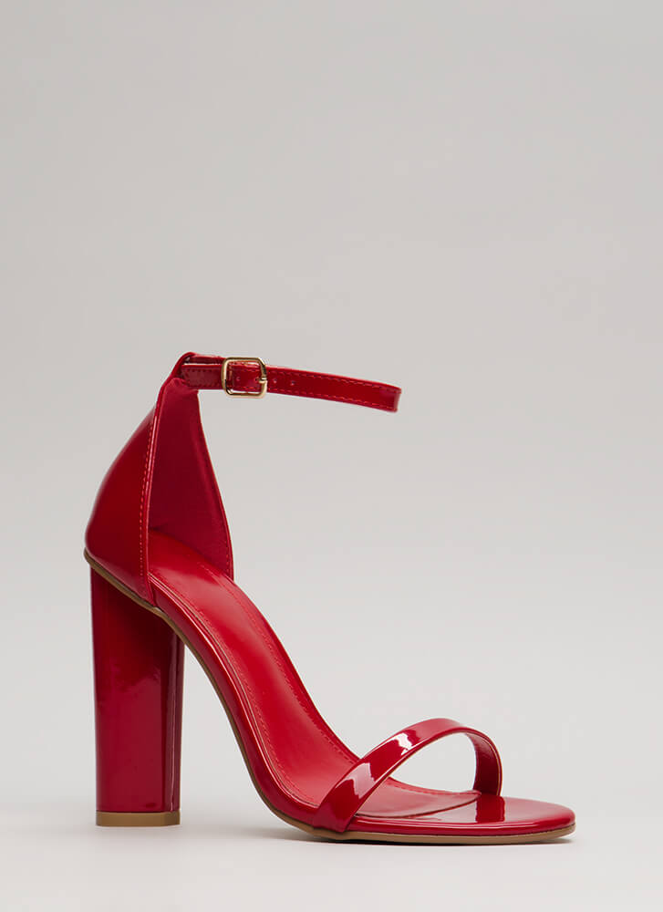 Sleek Chic Faux Patent Chunky Heels RED