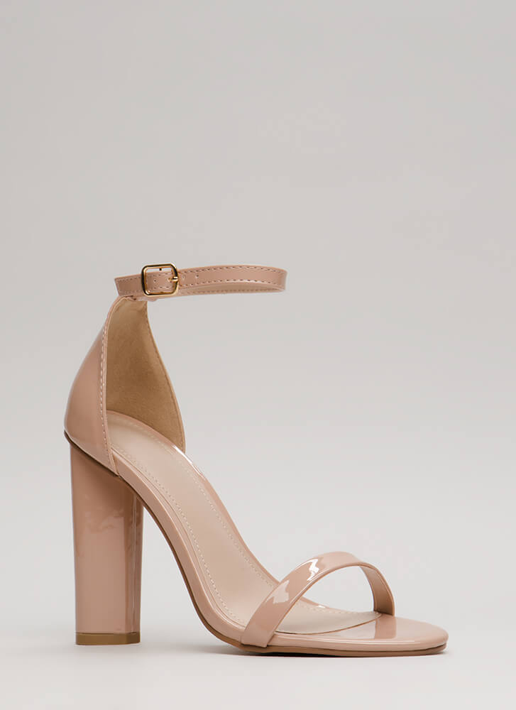 Sleek Chic Faux Patent Chunky Heels TAUPE