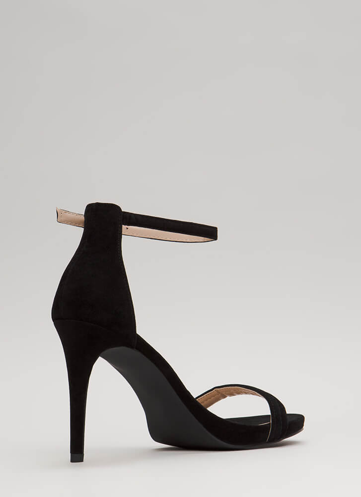 Out Tonight Velvet Ankle Strap Heels BLACK