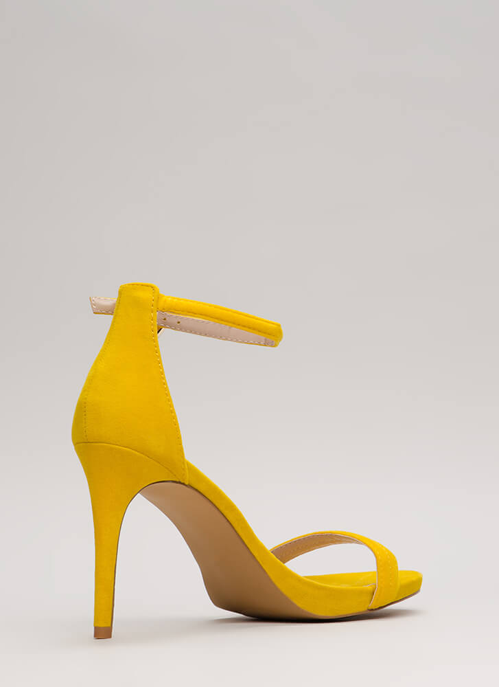 Out Tonight Velvet Ankle Strap Heels YELLOW