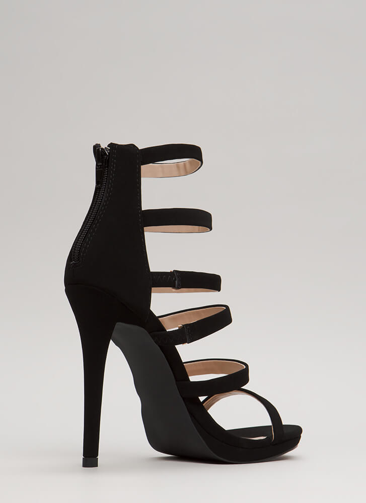 Up The Ladder Strappy Caged Heels BLACK