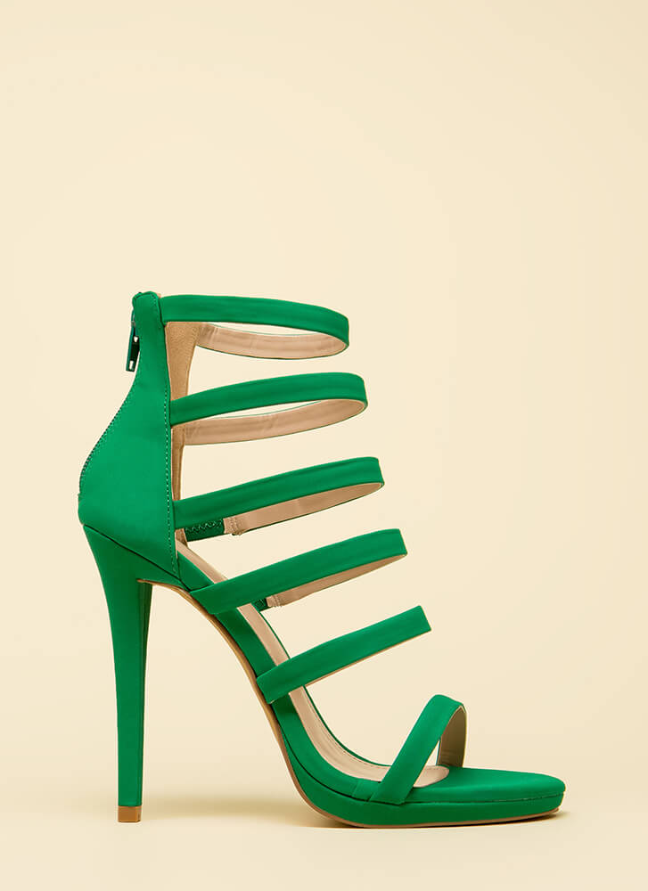 Up The Ladder Strappy Caged Heels JADE