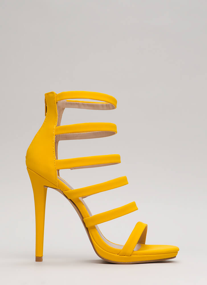 Up The Ladder Strappy Caged Heels YELLOW