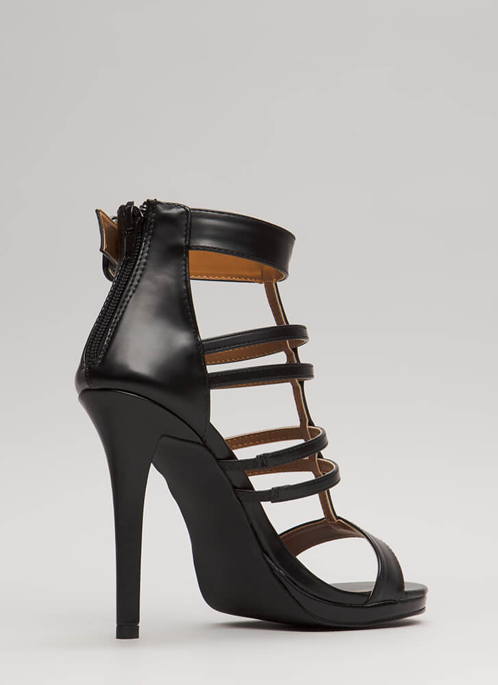 Inside The Cage Strappy Cut-Out Heels BLACK (Final Sale)