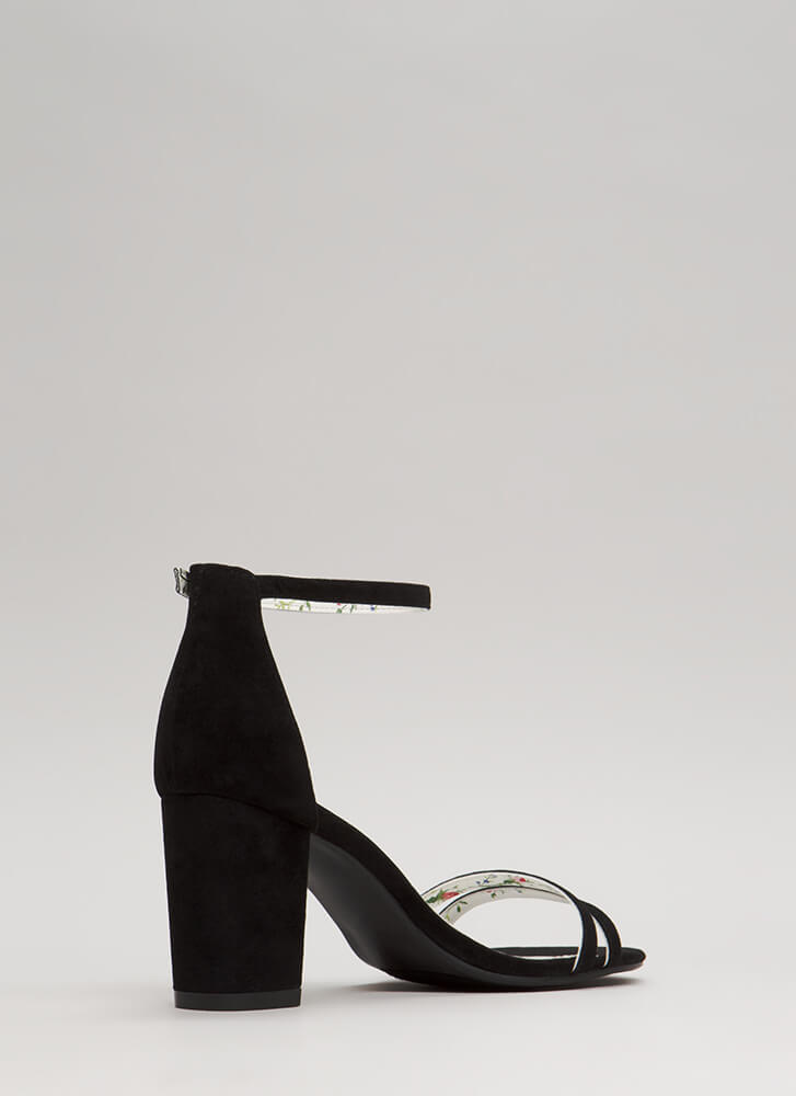Two To One Strappy Block Heels BLACK