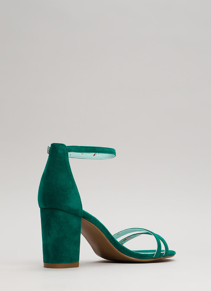 Two To One Strappy Block Heels GREEN
