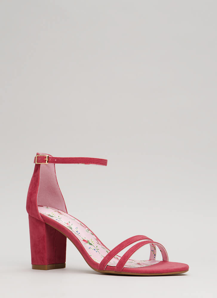Two To One Strappy Block Heels PLUM