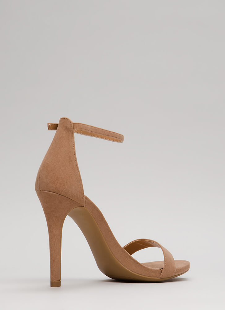 Smile Faux Suede Ankle Strap Heels TAUPE