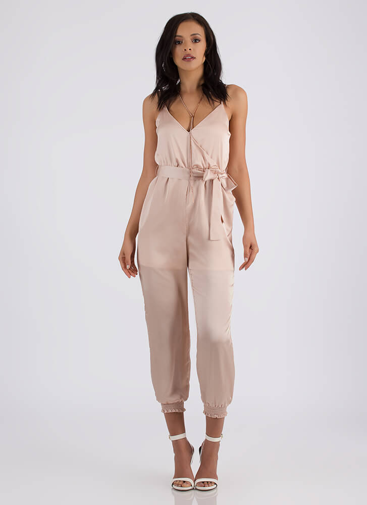 Luxury Item Satin Jogger Jumpsuit PINK