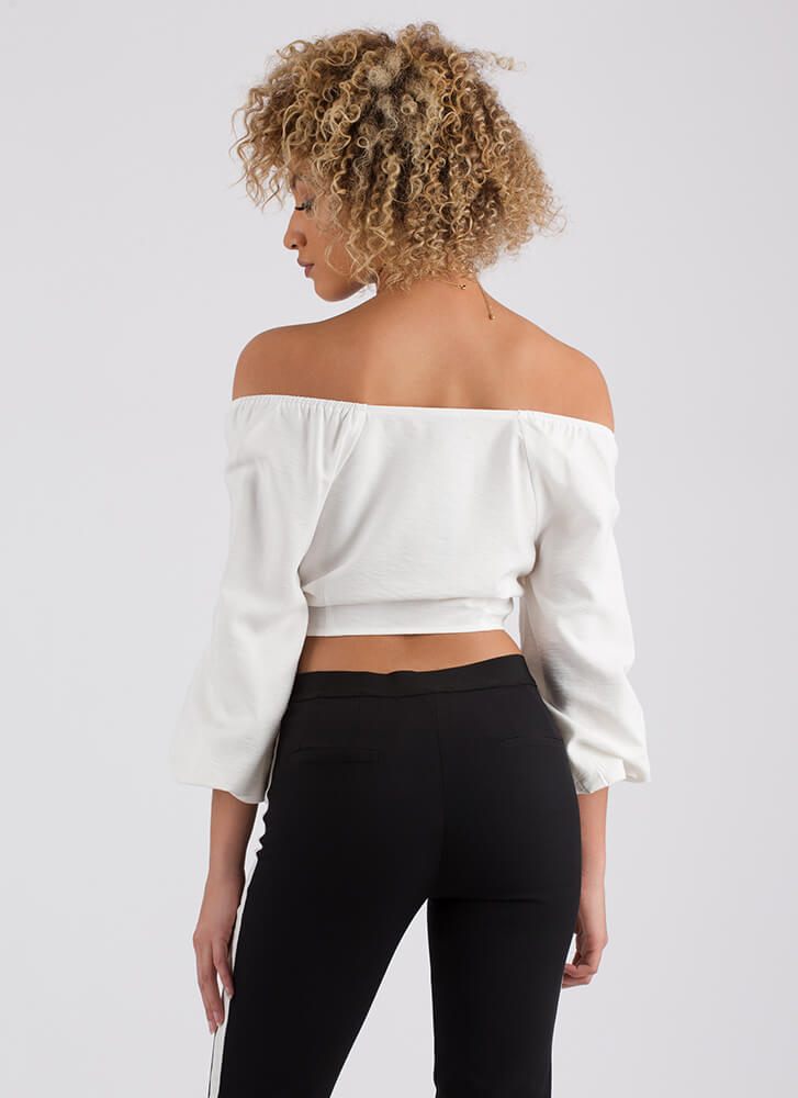 Totally To Tie For Off-Shoulder Crop Top WHITE