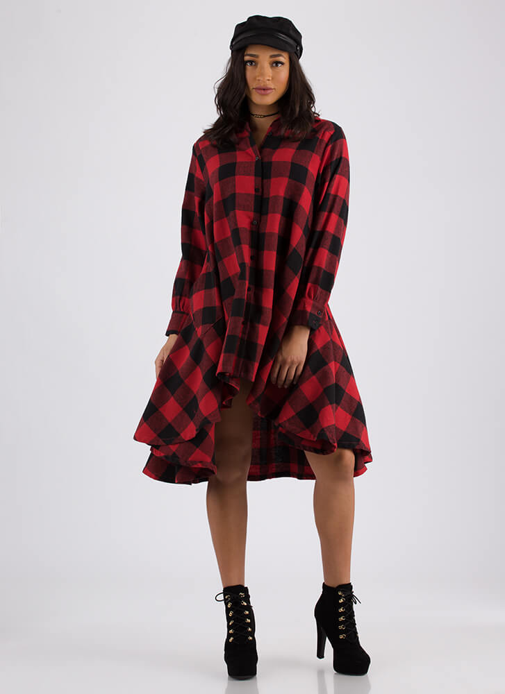 Flannel Flare Buffalo Plaid Dress RED