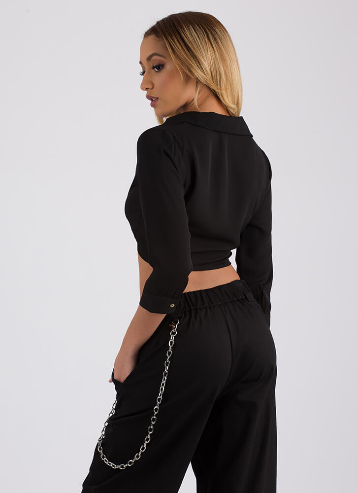 Perfect Blend Tied Cropped Blouse BLACK