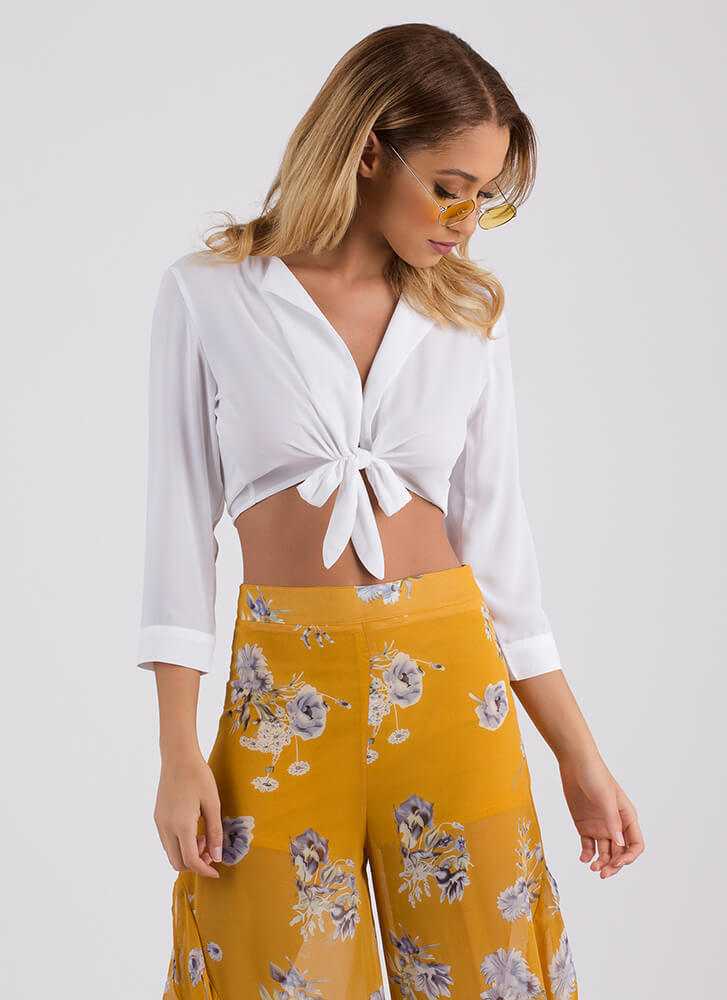 Perfect Blend Tied Cropped Blouse WHITE
