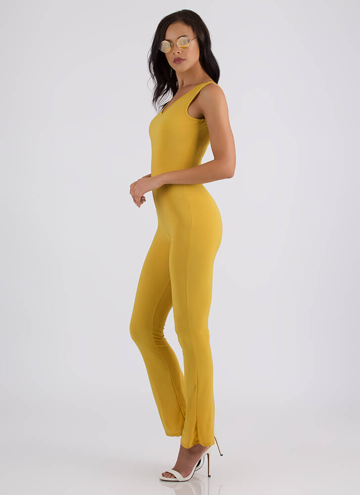 V Is For Victory Flared Jumpsuit MUSTARD