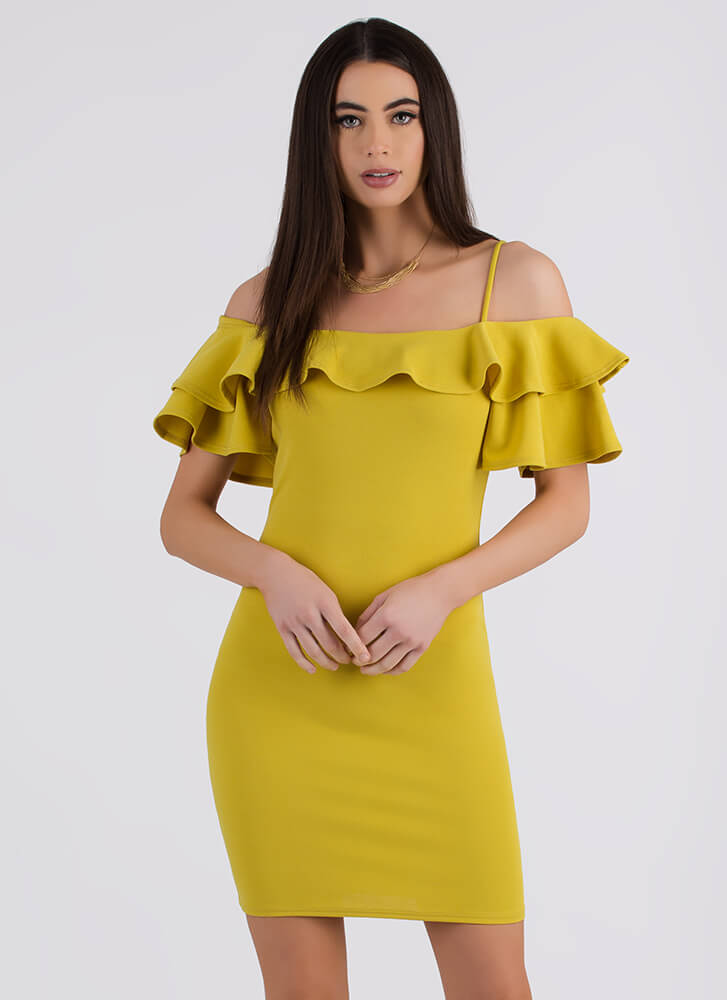 Frill It Up Ruffled Cold-Shoulder Dress CHARTREUSE