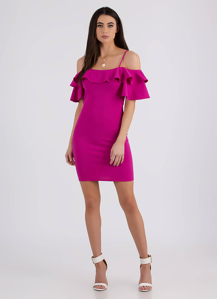 Frill It Up Ruffled Cold-Shoulder Dress FUCHSIA
