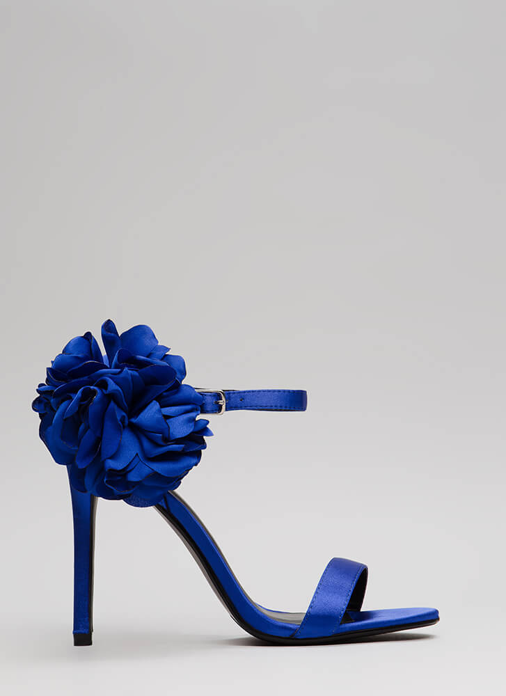 You're Blossoming Satin Flower Heels COBALTBLUE (Final Sale)