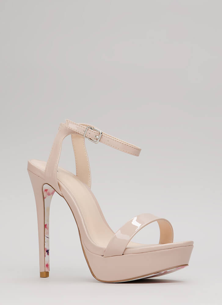 Walk Away Strappy Floral Sole Platforms NUDE
