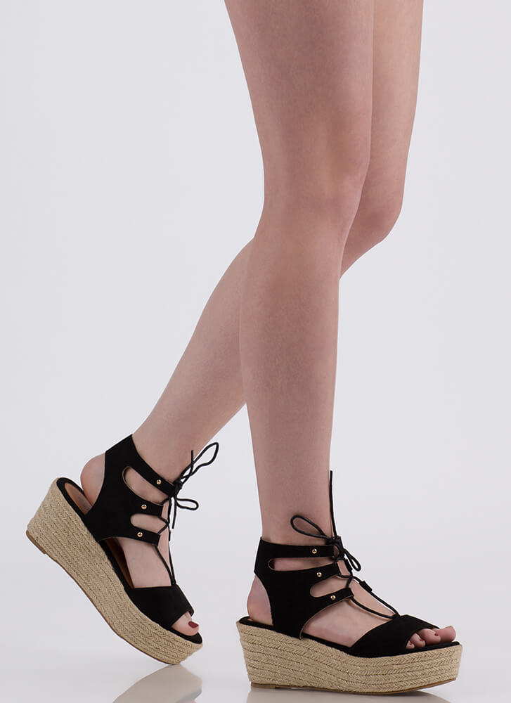 Safari Vibes Lace Up Espadrille Wedges by Go Jane