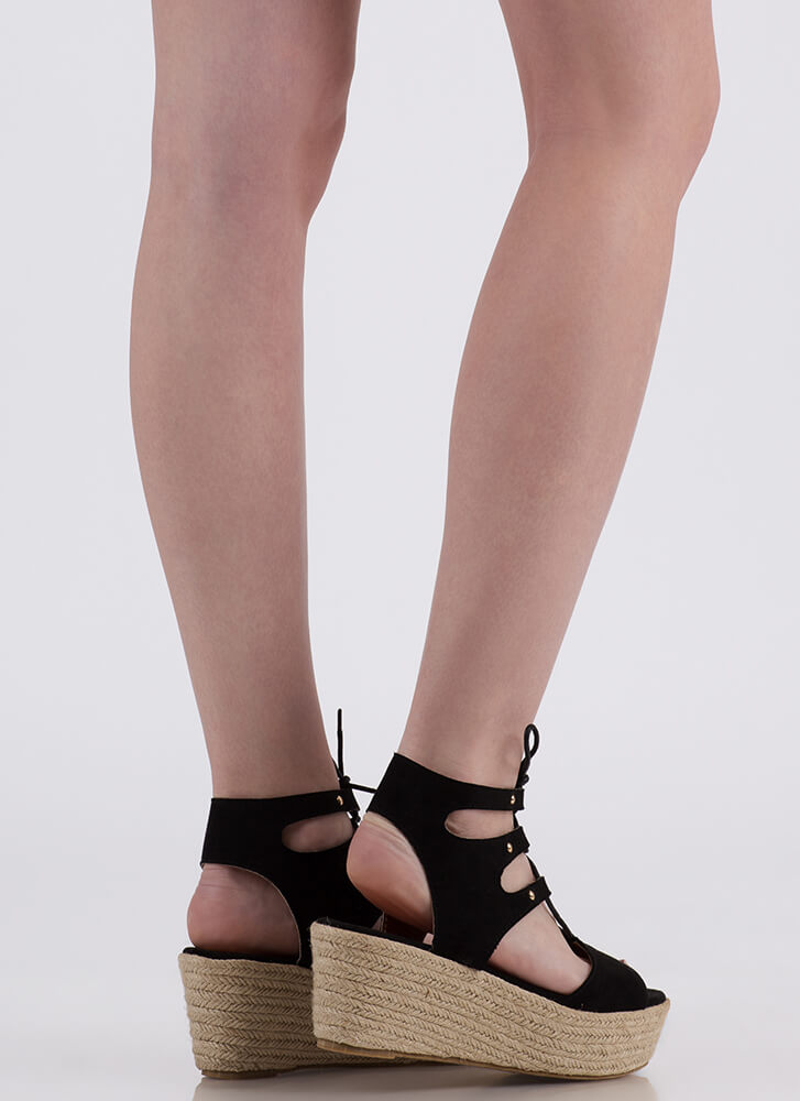 Safari Vibes Lace-Up Espadrille Wedges BLACK