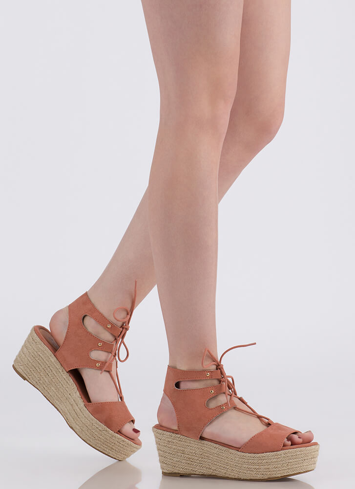 Safari Vibes Lace-Up Espadrille Wedges DUSTYBLUSH