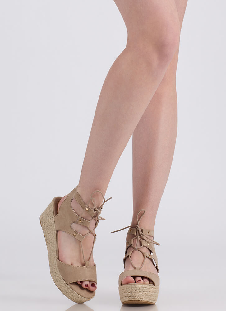 Safari Vibes Lace-Up Espadrille Wedges LTTAUPE