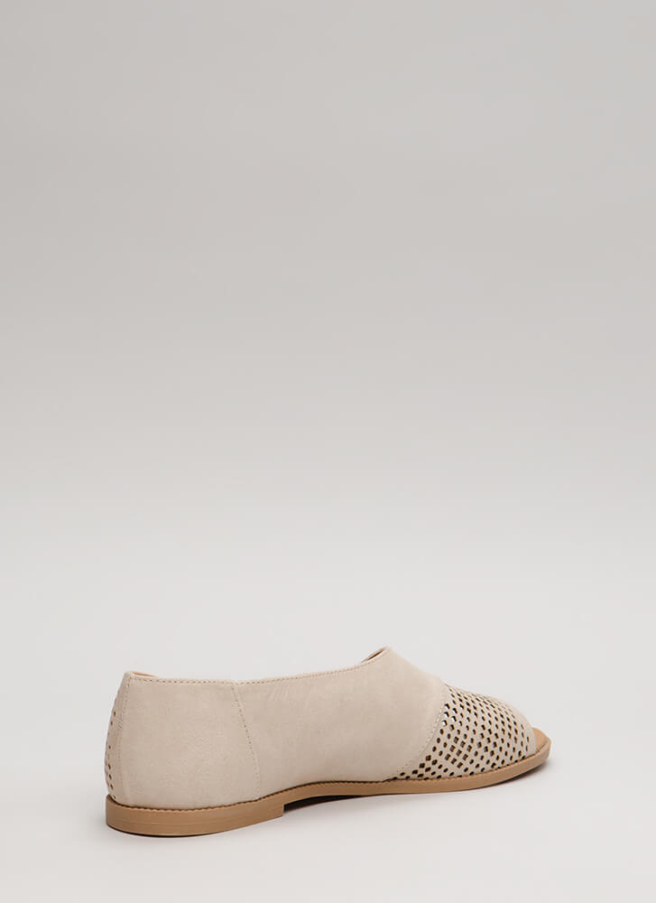 Open Up Asymmetrical Perforated Flats BEIGE
