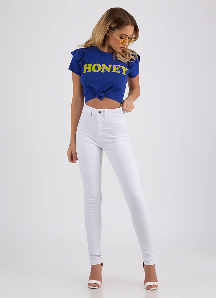Oh Honey Ruffled Graphic Crop Top BLUE
