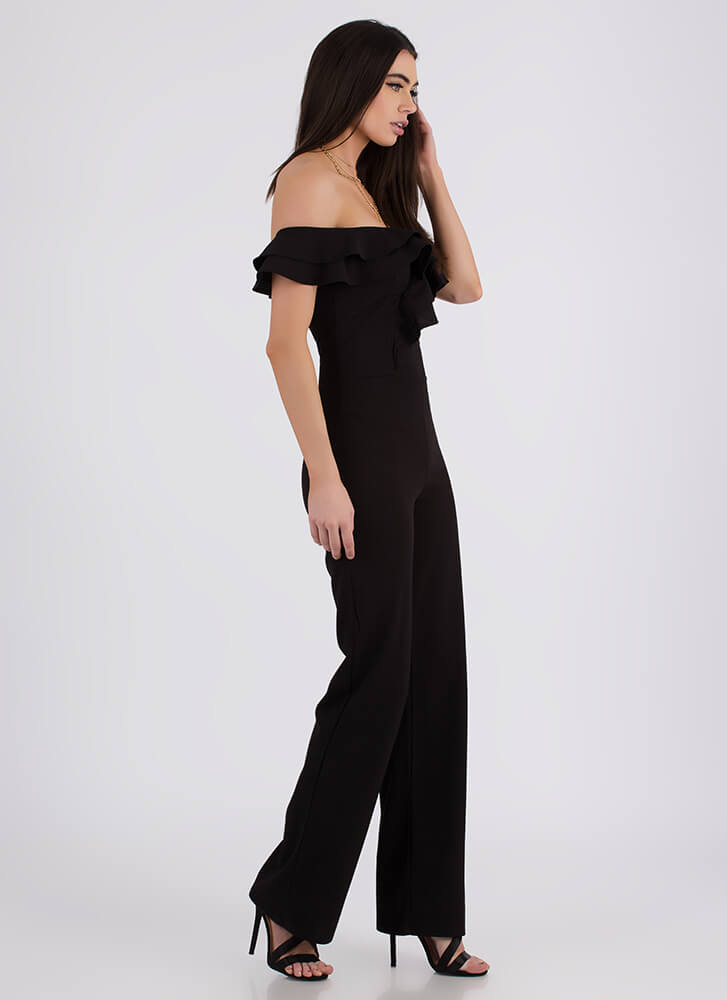 Ruffled Feathers Off-Shoulder Jumpsuit BLACK