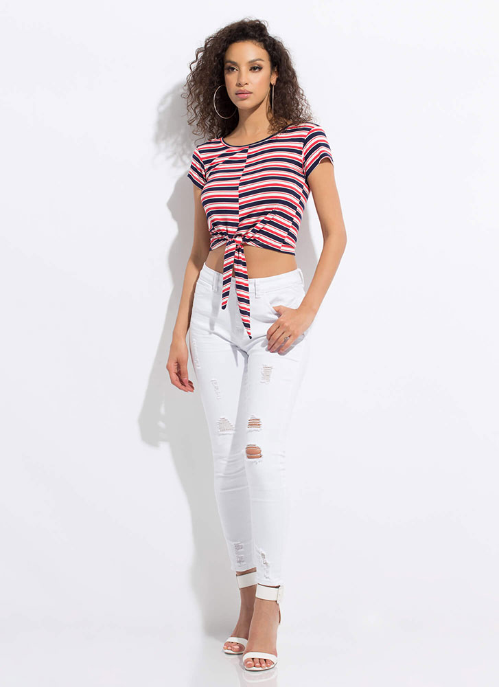 Knot Surprised Striped Tie-Front Top CORAL
