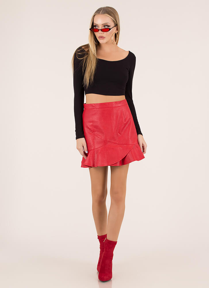 Both Worlds Ruffled Faux Leather Skirt RED