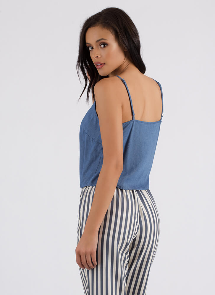 Life Of Leisure Knotted Button-Up Tank LTBLUE
