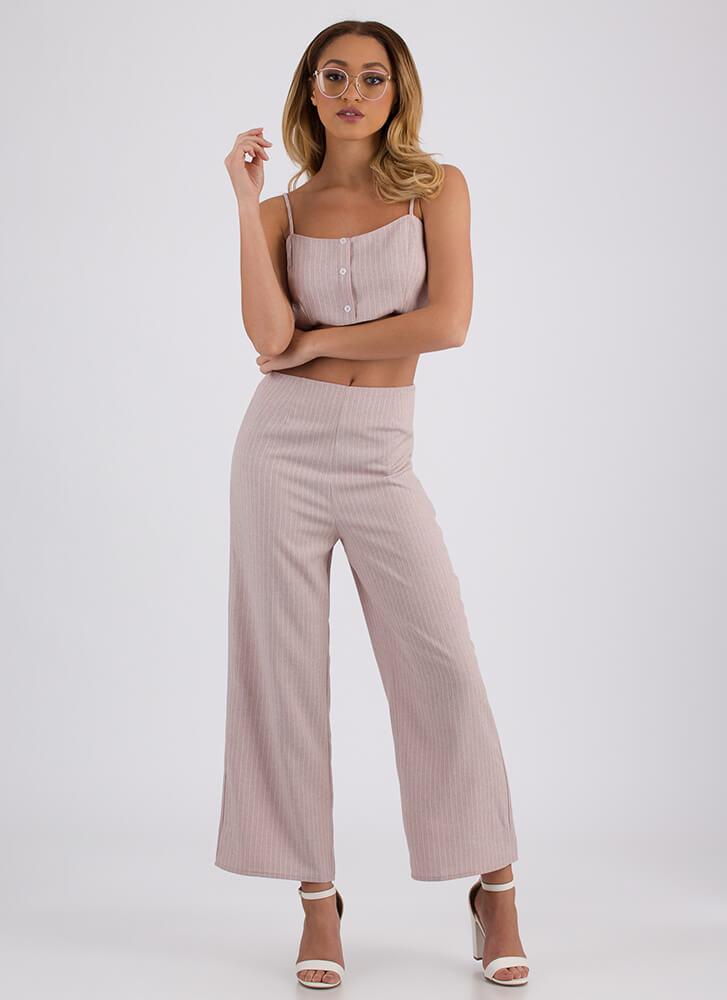 Along These Lines Pinstriped Crop Top MAUVE