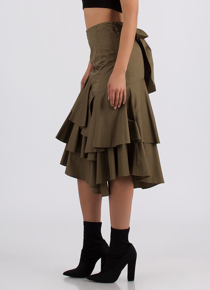Burst Into Tiers Tied Ruffled Skirt OLIVE
