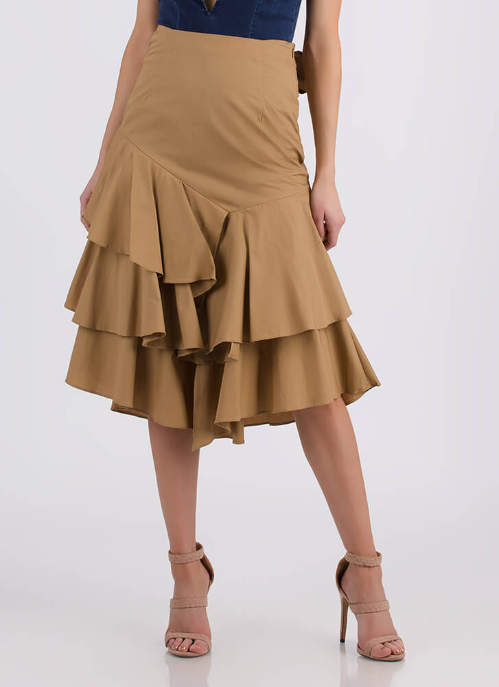 Burst Into Tiers Tied Ruffled Skirt TAUPE