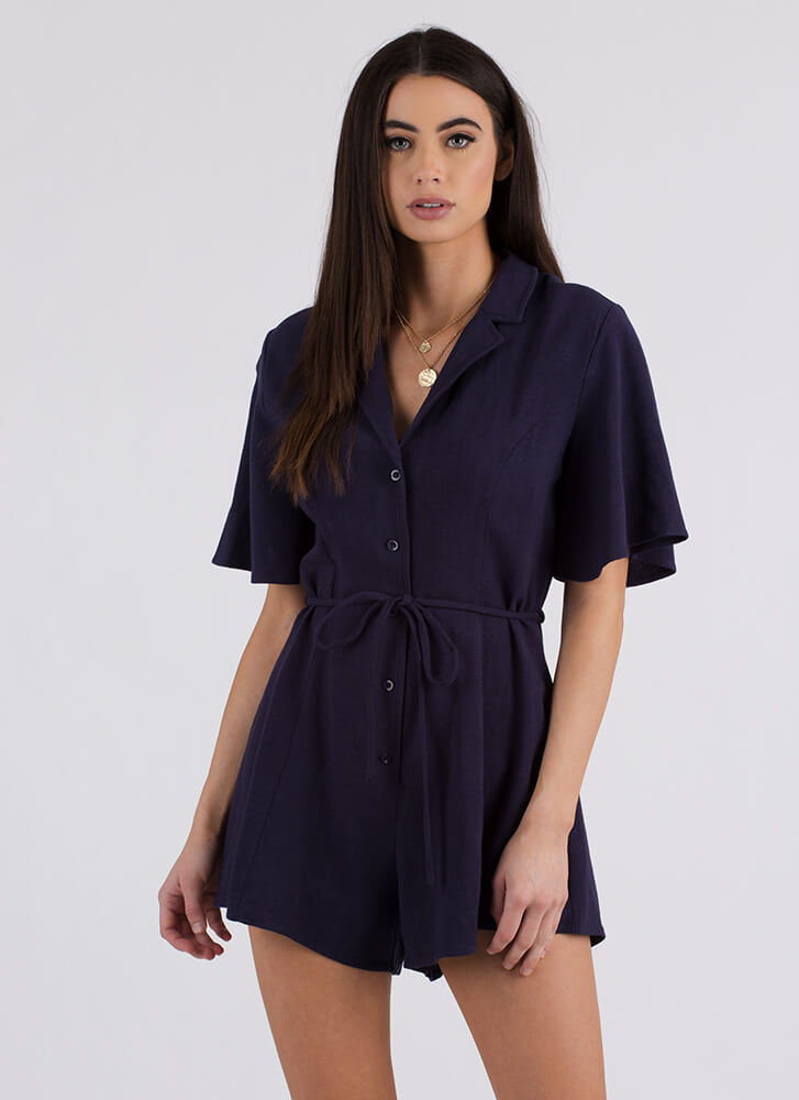 Adulting Flared Button-Up Romper NAVY (Final Sale)