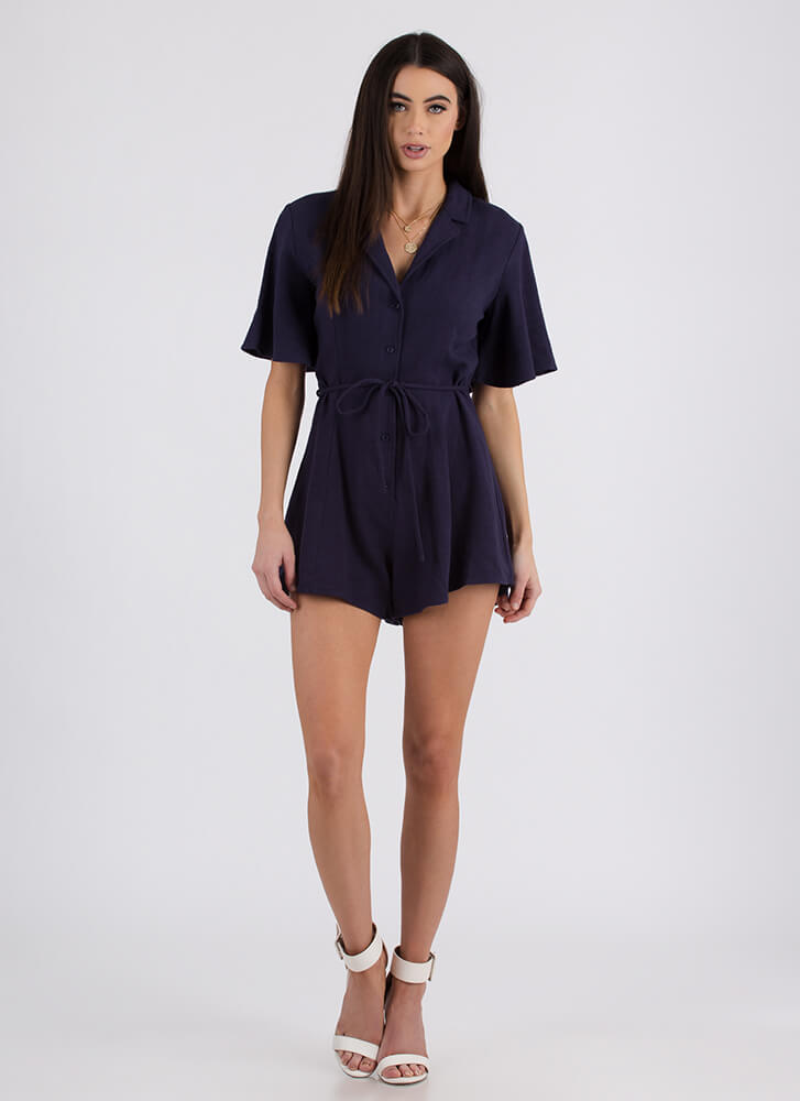 Adulting Flared Button-Up Romper NAVY