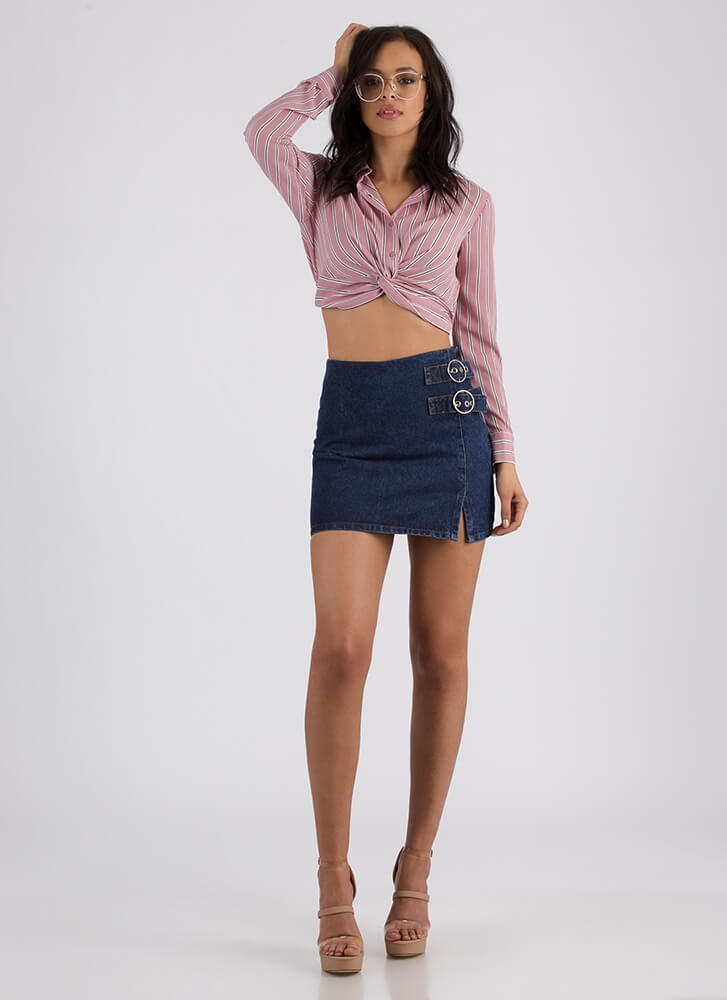 One Two Buckle My Denim Miniskirt BLUE (Final Sale)