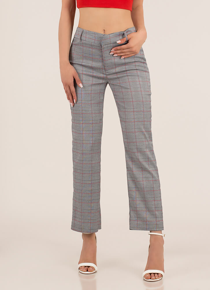Partner In Plaid Straight-Leg Trousers BLACKRED